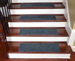 "Dean Non-Slip Tape Free Pet Friendly Stair Gripper Premium Nylon Waterproof DIY Carpet Stair Treads/Rugs 27"" x 9"" (15) - Color: Moody Blue Plush, American Made Top Quality"