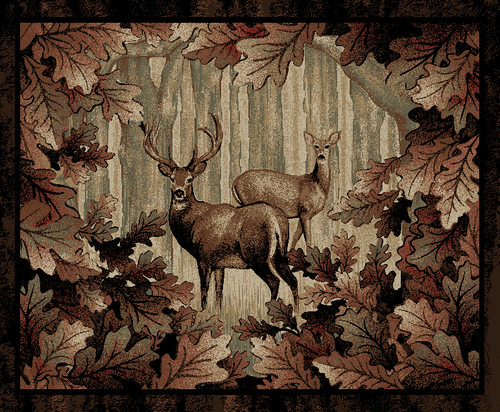 Dean Whitetail Woods Deer Lodge Cabin Area Rug Dean
