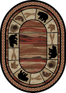 "Dean Vogel Bear Lodge Cabin Bear Area Rug Size: 5'3"" x 7'3"" (5x8) Oval"