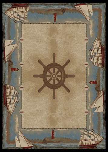 Dean Key West Coastal Beach Lodge Cabin Sailboat Area Rug