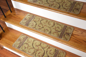 Dean Tape Free Pet Friendly Non-Slip Ultra Premium Stair Gripper Carpet Stair Treads - Ivory/Beige Scrollwork (15)
