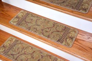 Dean Tape Free Pet Friendly Non-Slip Ultra Premium Stair Gripper Carpet Stair Treads - Meadow Green Scrollwork (15)