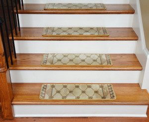 Dean Tape Free Pet Friendly Ultra Premium Stair Gripper Carpet Stair Treads - Chelsea Trellis Ivory (15)