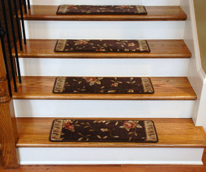 Dean Tape Free Pet Friendly Ultra Premium Non-Slip Stair Gripper Carpet Stair Treads - Chocolate Spring Blossoms (15)