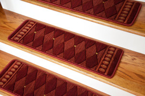 "Dean Tape Free Pet Friendly Ultra Premium Non-Slip Stair Gripper New Zealand Wool Carpet Stair Treads - Marquis Red (Set of 15) 30"" x 9"""
