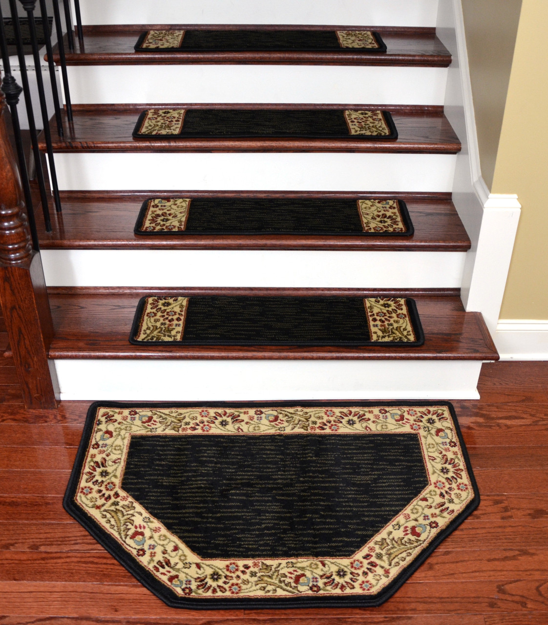 Talas Floral Black Stair Treads Amp Landing Mat 31 Quot