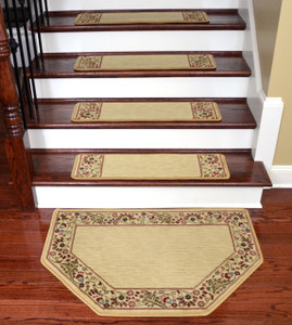"Dean Tape Free Pet Friendly Non-skid Stair Gripper Ultra Premium Carpet Stair Treads - Talas Floral Beige 31"" W (Set of 15) Plus a Matching Landing Hearth Mat 27"" x 39"" (2x3)"