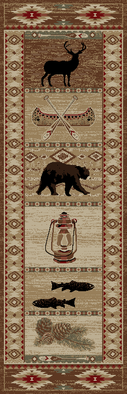 Dean River Camp Bear Lodge Cabin Bear Carpet Runner Rug