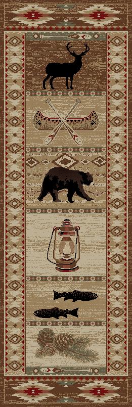 Dean River Camp Bear Lodge Cabin Bear Carpet Runner Rug