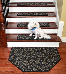 "Dean Tape Free Pet Friendly Non-skid Stair Gripper Ultra Premium Carpet Stair Treads - Acanthus Blue 30"" W (Set of 15) Plus a Matching Landing Hearth Mat 27"" x 39"" (2x3)"