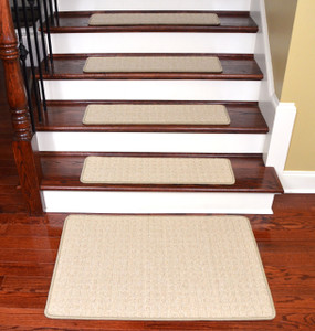 "Dean Tape Free Pet Friendly Non-skid Stair Gripper Ultra Premium Carpet Stair Treads - Quadrille Aged Linen 30"" W (Set of 15) Plus a Matching Landing Mat (2'x3')"