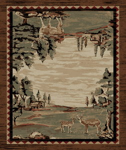 "Dean Lodge King Wildwood Brown Rustic Western Lodge Deer Cabin Ranch Area Rug Size: 7'10"" x 9'10"""