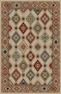 "Dean Lodge King Arrowrock Ivory Rustic Southwestern Lodge Cabin Ranch Area Rug Size: 5'3"" x 7'3"""
