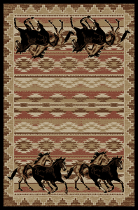 "Dean Lodge King Untamed Horses Rustic Western Lodge Cabin Ranch Area Rug Size: 7'10"" x 9'10"""
