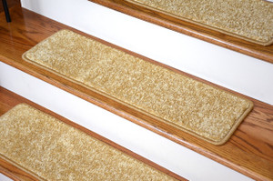 "Dean Non-Slip Tape Free Pet Friendly DIY 30"" x 9"" Premium Stair Gripper Carpet Stair Treads - Color: Softique Straw - Set of 15"