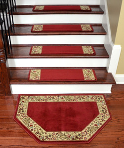 "Dean Tape Free Pet Friendly Non-skid Stair Gripper Ultra Premium Carpet Stair Treads - Talas Floral Red 31"" W (Set of 15) Plus a Matching Landing Hearth Mat 27"" x 39"" (2x3)"