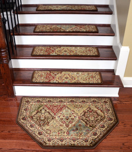 "Dean Tape Free Pet Friendly Non-skid Stair Gripper Ultra Premium Carpet Stair Treads - Panel Kerman Chocolate 31"" W (Set of 15) Plus a Matching Landing Hearth Mat 27"" x 39"" (2x3)"