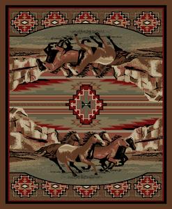 "Dean Mesa Verde Lodge Cabin Western Ranch Horse Area Rug 5'3"" x 7'3"" (5x8)"