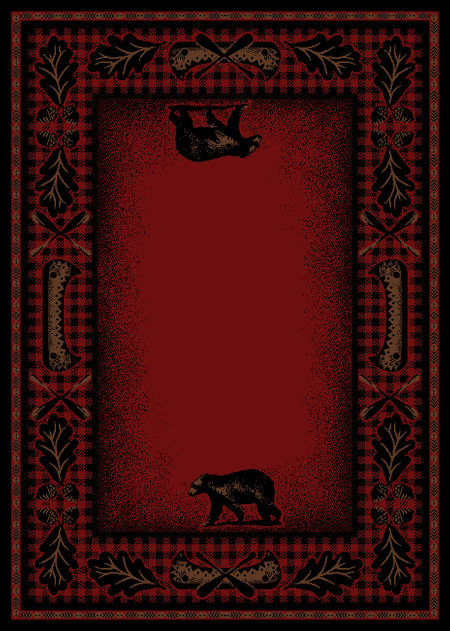 Dean Woodlands Red Rustic Bear Lodge Cabin Ranch Area Rug
