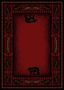 "Dean Woodlands Red Rustic Bear Lodge Cabin Ranch Area Rug Size: 5'3"" x 7'3"""