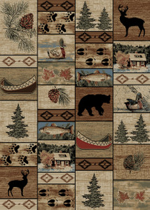 "Dean Mountain Solitude Rustic Bear Lodge Cabin Ranch Area Rug Size: 5'3"" x 7'3"""