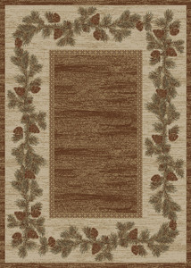 "Dean Mountain View Rustic Pine Cone Lodge Cabin Ranch Area Rug Size: 5'3"" x 7'3"""