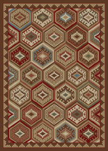 "Dean Lodge Quilt Brown Rustic Southwestern Lodge Cabin Ranch Area Rug Size: 5'3"" x 7'3"""