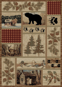 "Dean Get Away Trail Rustic Western Lodge Bear Duck Nature Cabin Area Rug Size: 5'3"" x 7'3"""