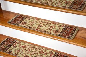 "Dean Premium Carpet Stair Treads - Classic Keshan Ivory Mocha 31""W (13)"