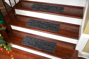 Dean Affordable Non-Skid DIY Peel & Stick Carpet Stair Treads - Color: Carbonized Black - Set of 13
