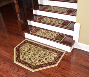 "Dean Non-Slip Pet Friendly Carpet Stair Step Cover Treads - Classic Keshan Ivory Mocha 31""W (Set of 15) Plus a Matching Landing Hearth Mat 27"" x 39"" (2x3)"