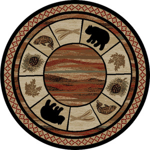 "Dean Vogel Bear Lodge Cabin Bear Carpet Area Rug Size: 7'10"" Round"