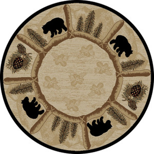 "Dean Toccoa Bear Lodge Cabin Carpet Area Rug Size: 7'10"" Round"