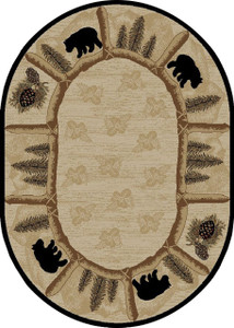 "Dean Toccoa Bear Lodge Cabin Bear Area Rug Size: 7'10"" x 9'10"" Oval"
