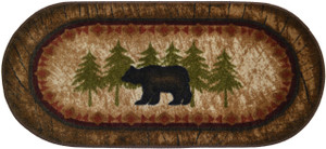 "Dean Washable Non-Slip ""Brown Bear"" Cabin Mountain Kitchen/Bath/Door Entrance Mat/Rug 20""x44"" Oval"