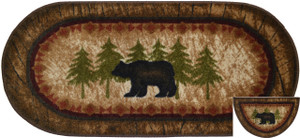 "Dean Washable Non-Slip ""Brown Bear"" Cabin Mountain Kitchen/Bath/Door Entrance Mat/Rug Set 20 Inch x 44 Inch Oval (1) and Matching 19 Inch x 31 Inch Half Circle (1)"