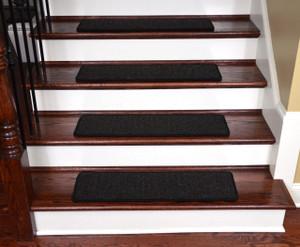 "Dean Non-Slip Tape Free Pet Friendly DIY 30"" x 9"" Premium New Zealand Wool Stair Gripper Carpet Stair Treads - Color: Melrose Ebony - Set of 15"