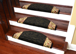 "Dean Non-Slip Tape Free Pet Friendly Stair Gripper Bullnose Carpet Stair Treads - Talas Floral Black Half Moon 31""W (3)"