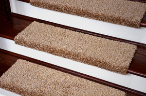 Dean Premium Pet Friendly Tape and Adhesive Free Non-Slip Bullnose Carpet Stair Treads - Safari Beige (3)