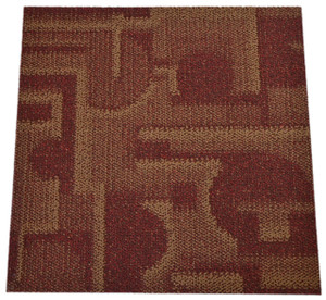 Dean DIY Carpet Tile Squares - Phoenix Red & Gold - 48 SF Per Box -12 Pieces Per Box