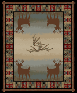 "Dean Open Range Rustic Western Lodge Deer Cabin Ranch Area Rug Size: 5'3"" x 7'3"""
