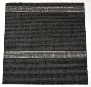 Dean DIY Carpet Tile Squares - Black & Gray Midnight Stripe - 48 SF Per Box -12 Pieces Per Box