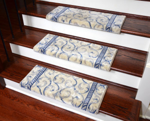 "Dean Non-Slip Tape Free Pet Friendly Stair Gripper Bullnose Carpet Stair Treads - Ivory Blue Scrollwork Scrollwork 27""W (3)"