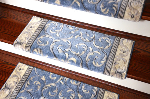 Dean Light Blue Scroll Bullnose Stair Treads Set Of 3