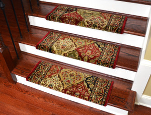 "Dean Non-Slip Tape Free Pet Friendly Stair Gripper Bullnose Carpet Stair Treads - Panel Kerman Claret 31""W (3)"