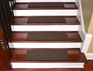 Urban Legend Brown Washable Carpet Stair Treads