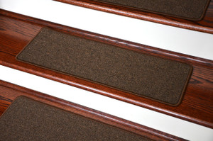 Dean Washable Non-Slip Carpet Stair Treads - Urban Legend Brown - Set of 15 Pieces, 23 Inches by 8 Inches Each