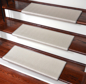 Dean Premium Pet Friendly Tape and Adhesive Free Non-Slip Bullnose Carpet Stair Treads - Hatteras Flatweave Chevron Seashell (3)