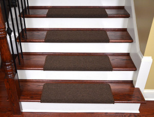 "Dean Modern DIY Peel and Stick Bullnose Wraparound Non-Skid Carpet Stair Treads - Urban Legend Brown 30""W (15)"
