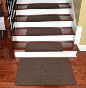 "Dean Modern DIY Peel and Stick Bullnose Wraparound Non-Skid Carpet Stair Treads - Urban Legend Brown 30""W (15) Plus a Matching 2' x 3' Landing Mat"